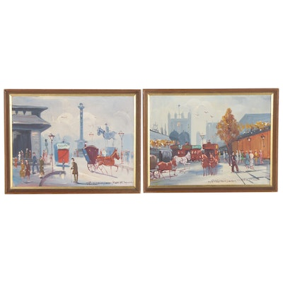 London Street Scene Oil Paintings, Mid-20th Century