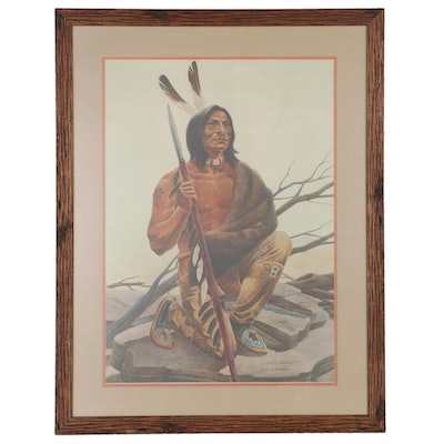 "John Ruthven Offset Lithograph ""Miami Indian,"" Late 20th Century"