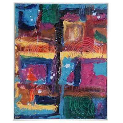 Richard A. Dull Abstract Acrylic Painting, Late 20th Century