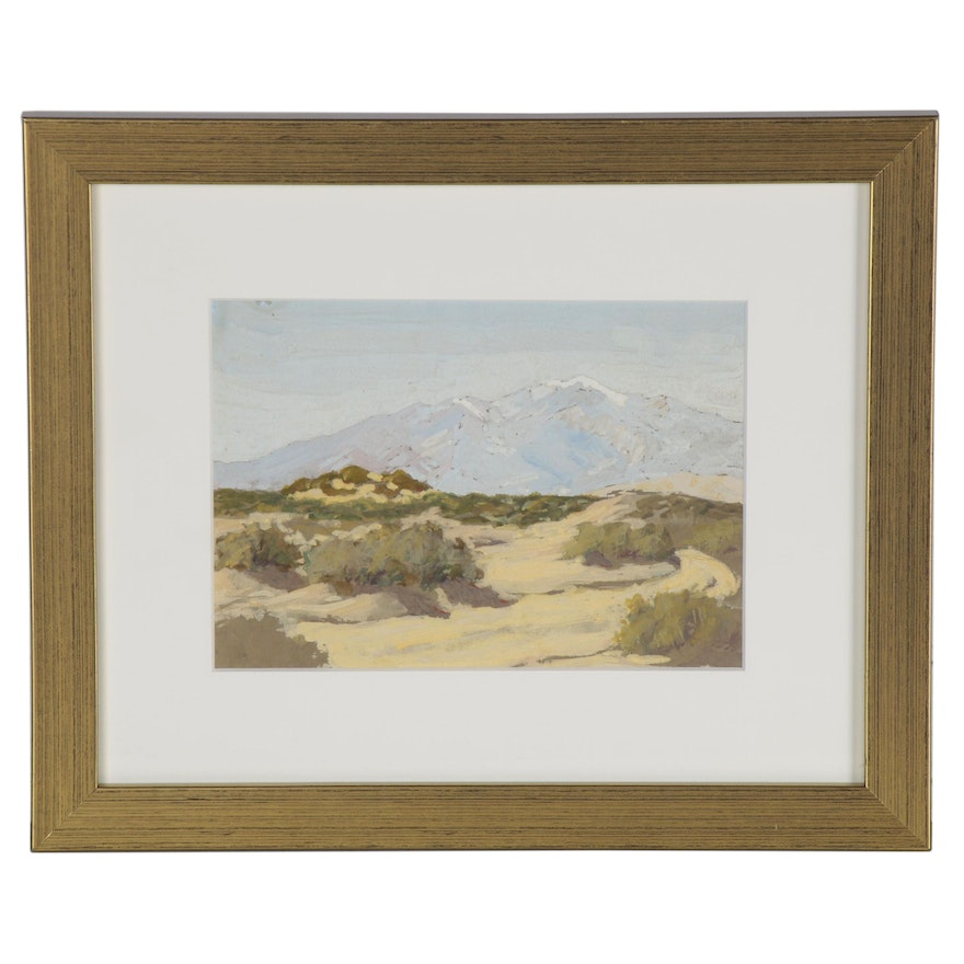 Mountain Landscape Gouache Painting, Late 19th to Early 20th Century