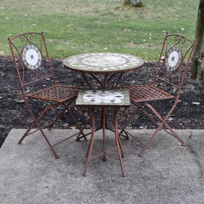 Outdoor Patio Metal and Stone Tile Bistro Set