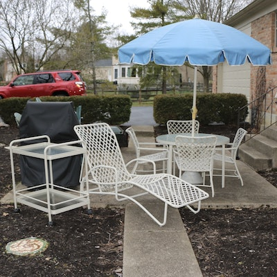 Brown Jordan Patio Dining Set with Umbrella, Cart and Chaise Lounge