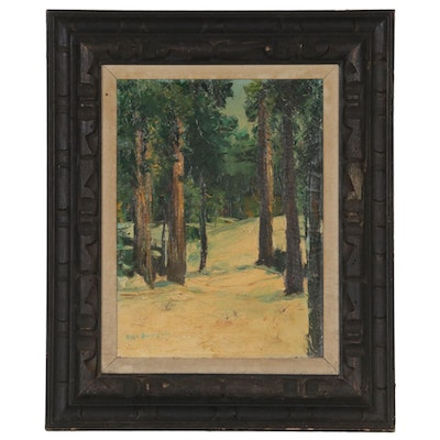 Elsie Boigegrain Oil Painting of Pine Forest Scene, Early 20th Century