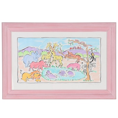 Sally Huss Embellished Lithograph of Animals, Late 20th Century