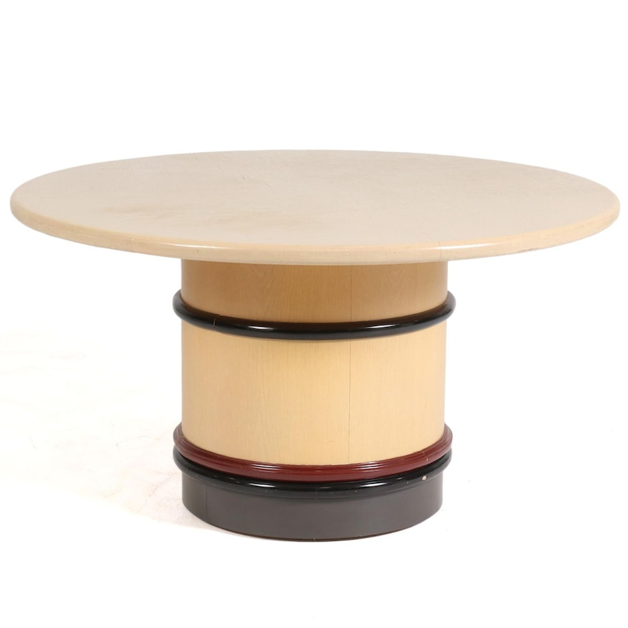 Lacquered and Blonde-Finished Wood Round Pedestal Dining Table