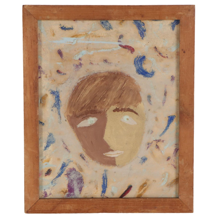 Acrylic Painting of Abstract Portrait, Late 20th Century