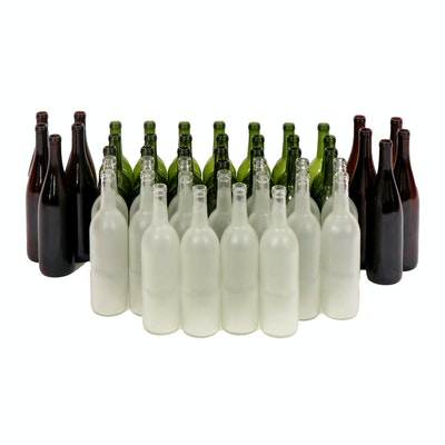 Brown, Green and Clear Frosted Glass Bottles, Contemporary