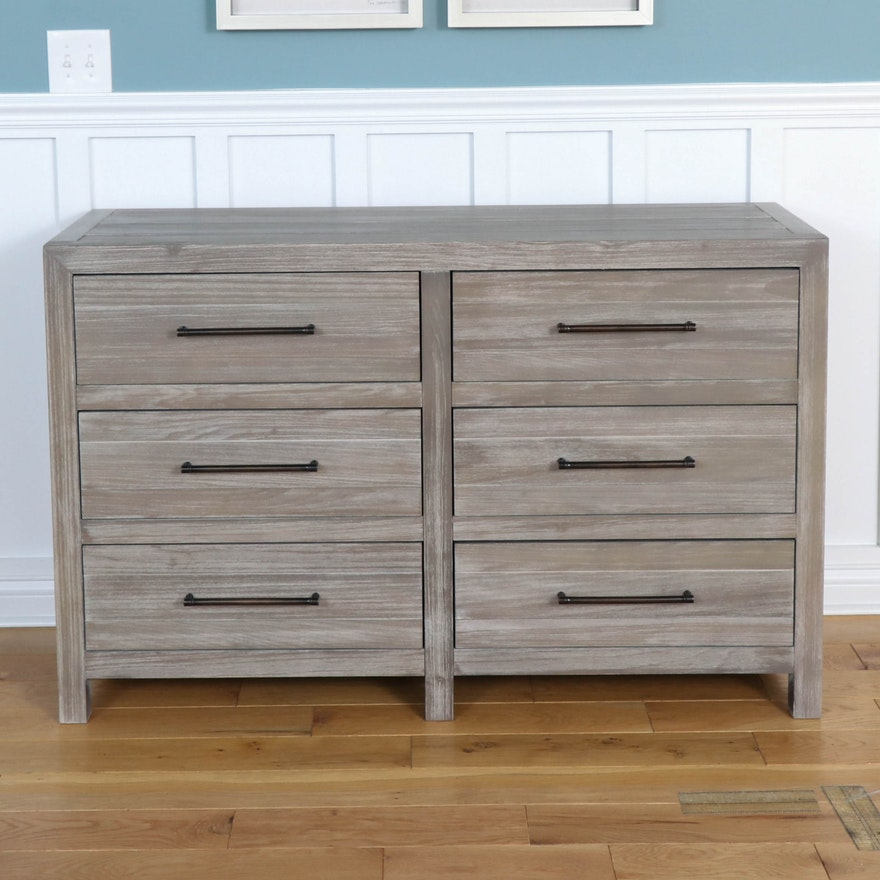 Smartstuff Modern Six-Drawer Dresser in Driftwood Finish