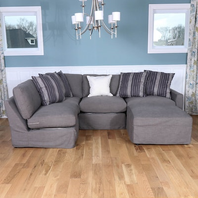 Rowe Furniture Slipcovered Gray Sectional with Accent Pillows