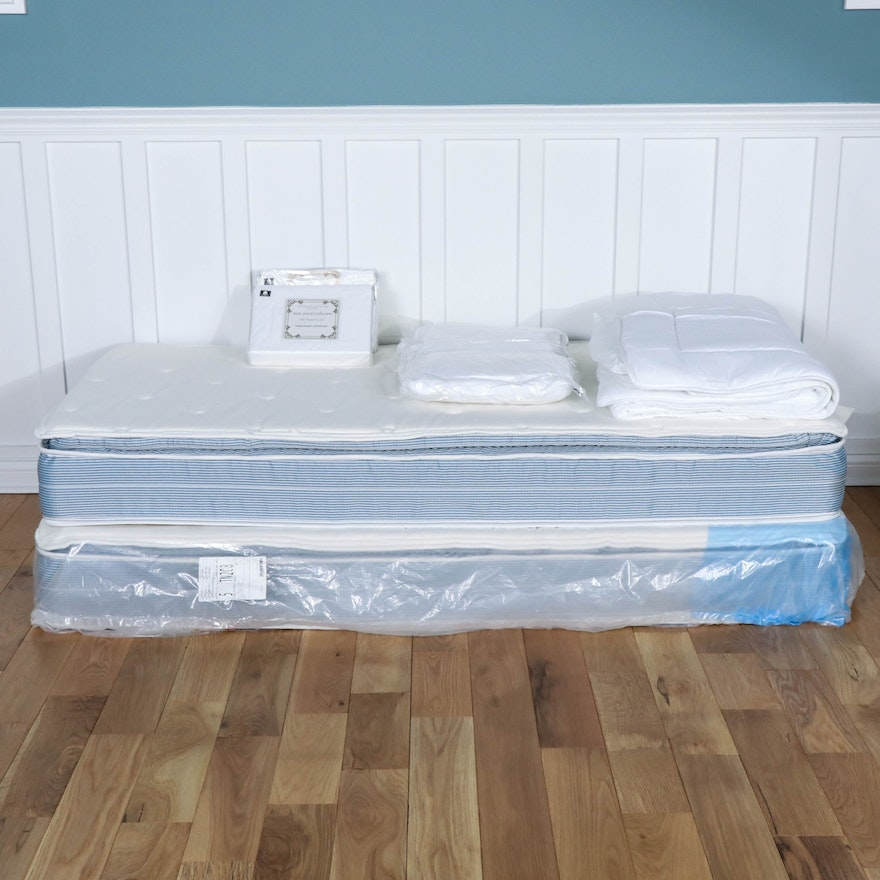 """Two American Bedding """"Samoa"""" Pillow Top Mattresses with Matching Bed Linens"""