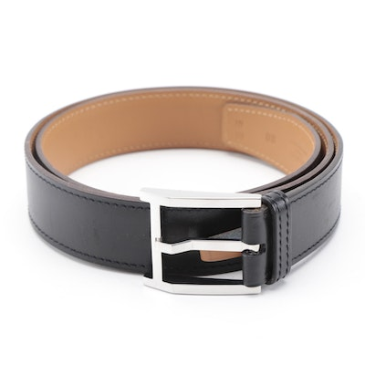 Hermès Black Leather Belt with Palladium Plated Buckle