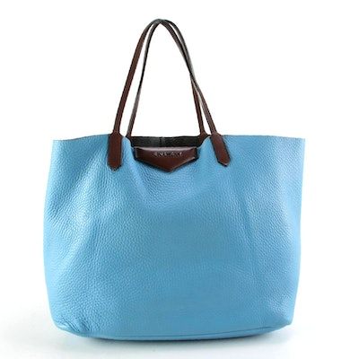 Givenchy Blue Pebbled and Brown Leather Tote Bag