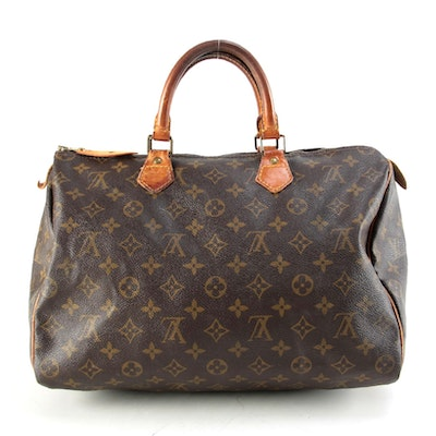 Louis Vuitton Speedy 35 Bag in Monogram Canvas with Leather Trim