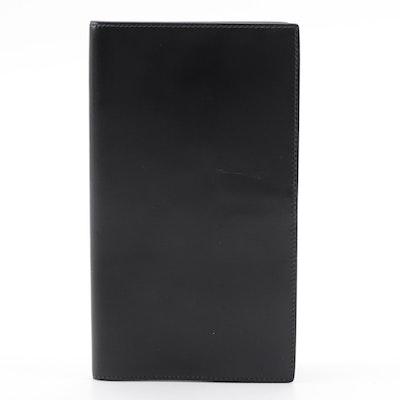 Hermès Vertical Bifold Travel/Ticket Wallet in Black Leather, 1970s