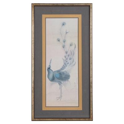 "Offset Lithograph after Mori Sosen ""Peacock,"" Late 20th Century"