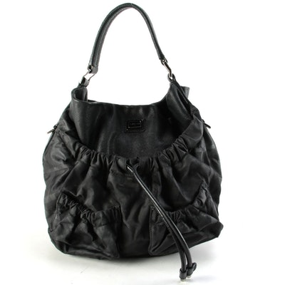 Burberry Shadow Check Nylon and Black Leather Two-Way Bag