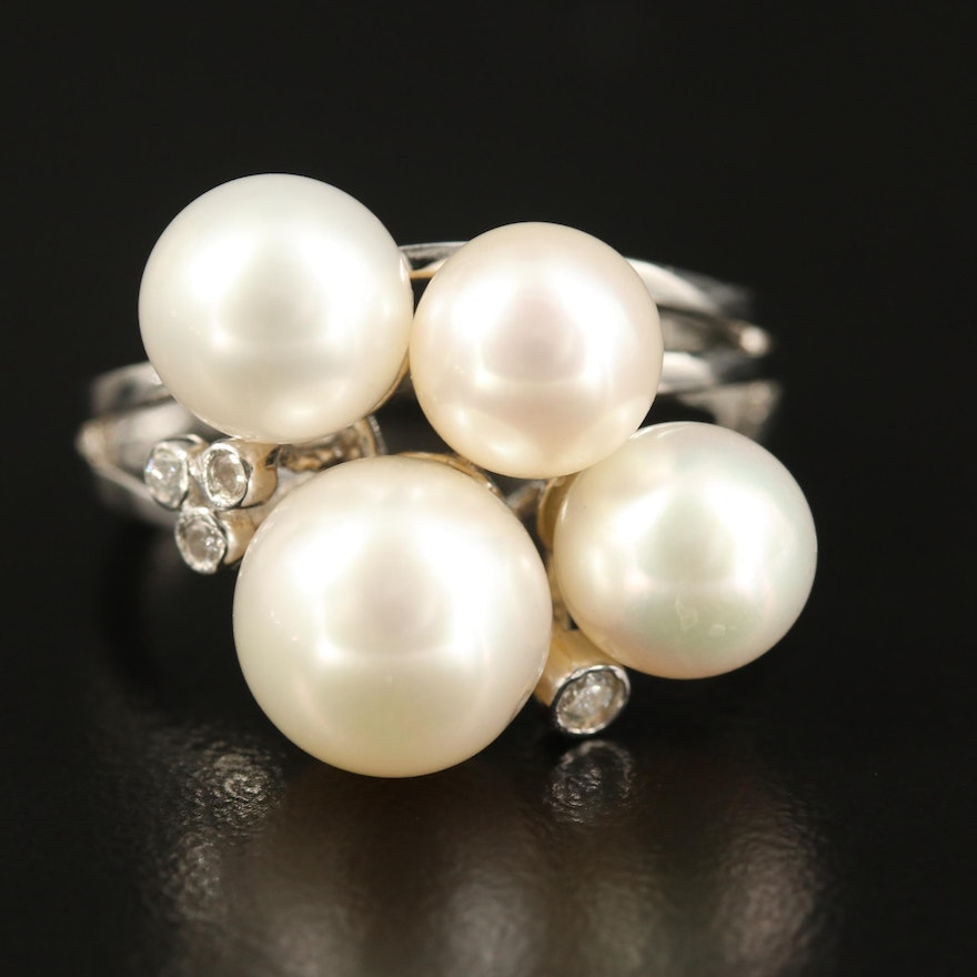 Sterling Pearl and Diamond Split Shank Ring