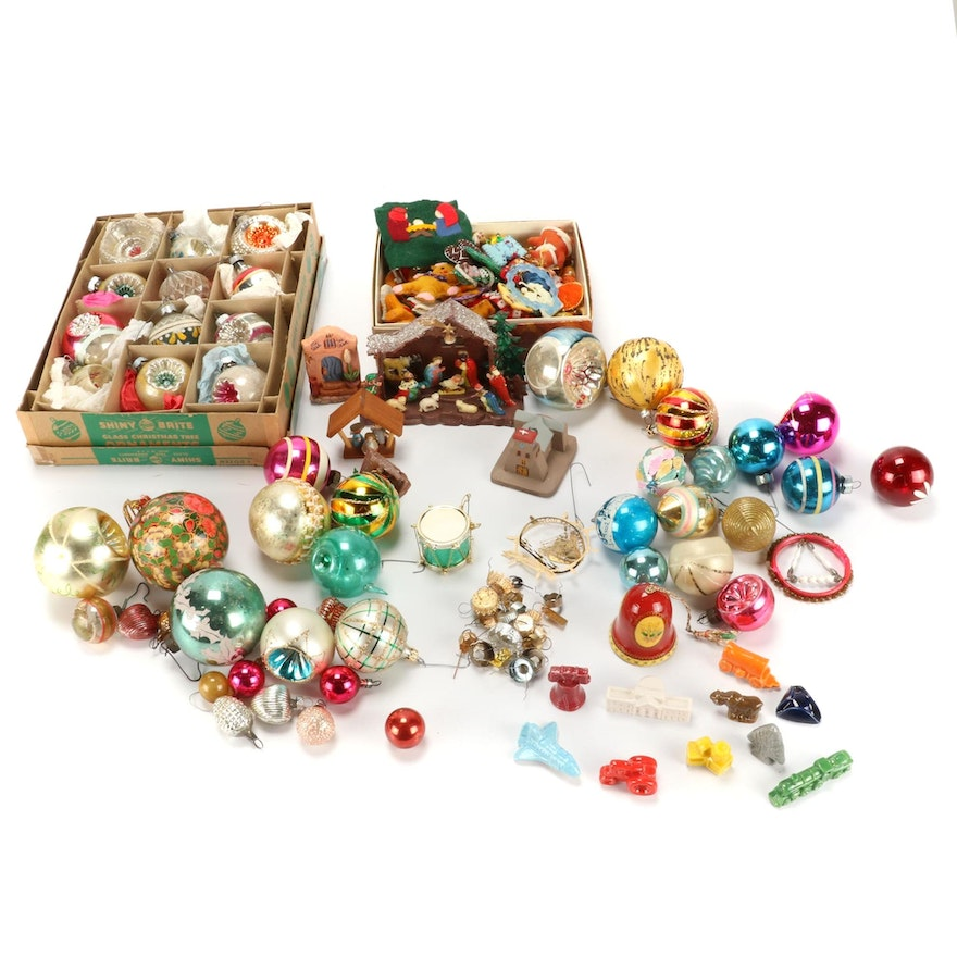 Assorted Christmas Tree Ornaments, Mid-20th Century