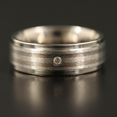Titanium Striped Band with Diamond Accent