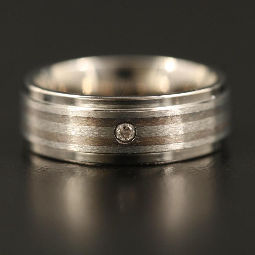 Titanium Striped Band with Diamond Accent