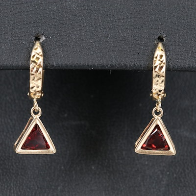 14K Hoop Earrings with Garnet Drops
