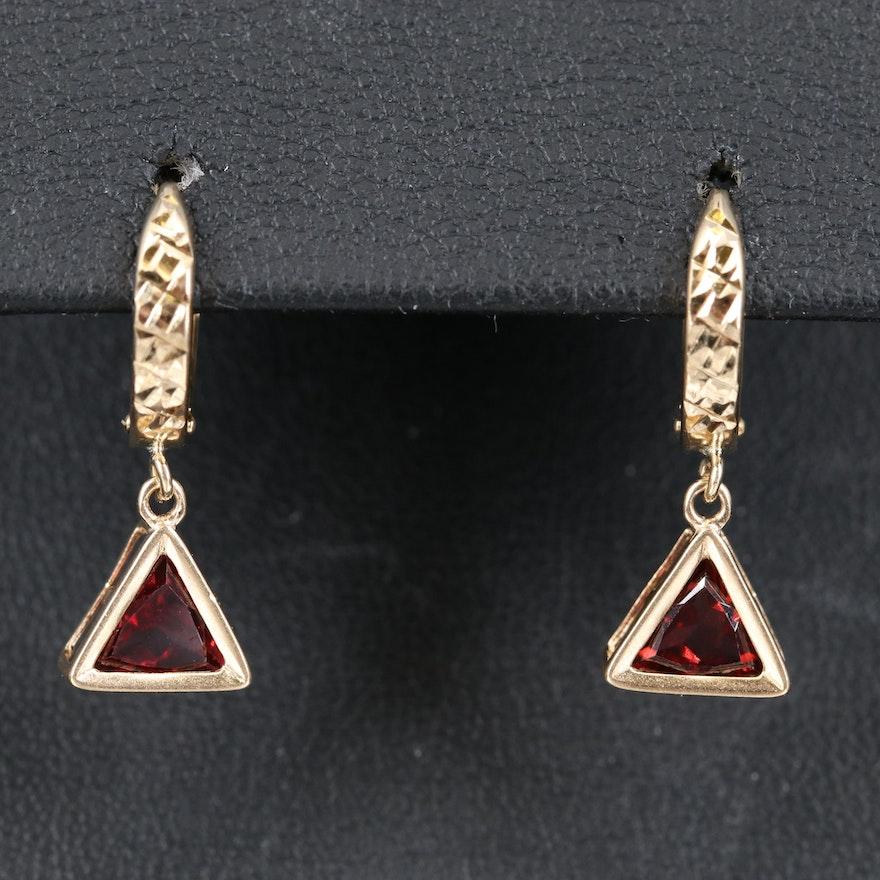 14K Hoop Earrings with Garnet Drops