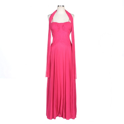 Alberto Makali Fuchsia Sleeveless Gown with Pleated Fitted Bodice and Wrap
