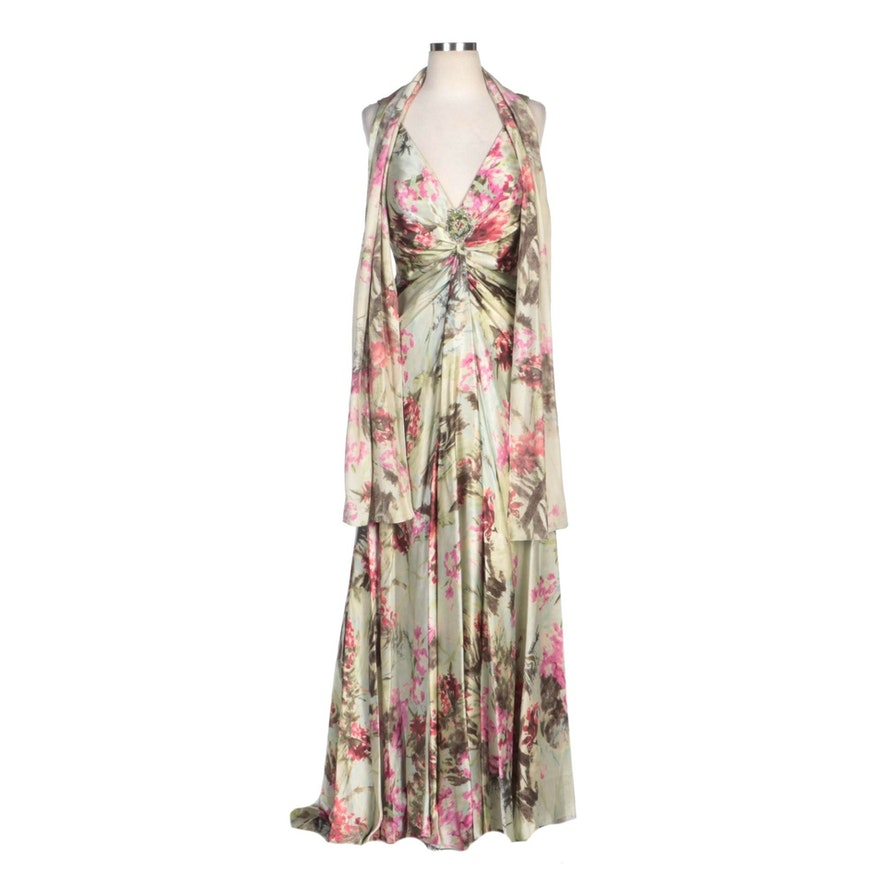 Alberto Makali Green Floral Printed Silk V-Neck Empire Waist Dress with Wrap
