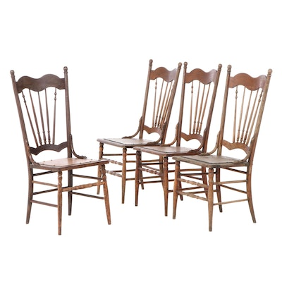 Four Late Victorian Oak Dining Chairs, Early 20th Century