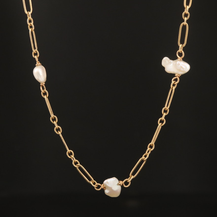 14K Baroque Pearl Station Necklace