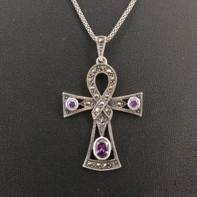 Sterling Silver Cubic Zirconia and Marcasite Ankh Pendant Necklace