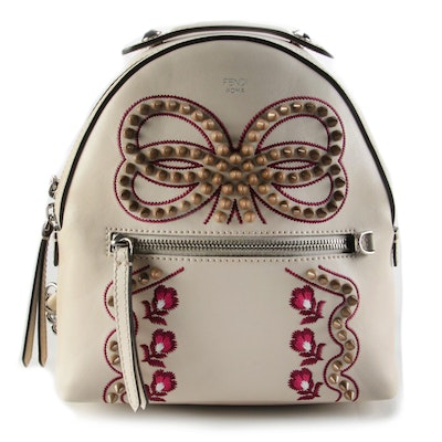 Fendi Mini Studded Bow Backpack Purse in Camelia Calfskin Leather