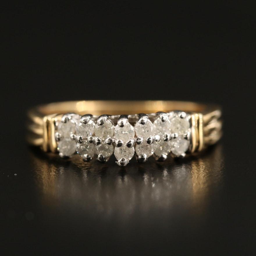 10K Diamond Step Ring