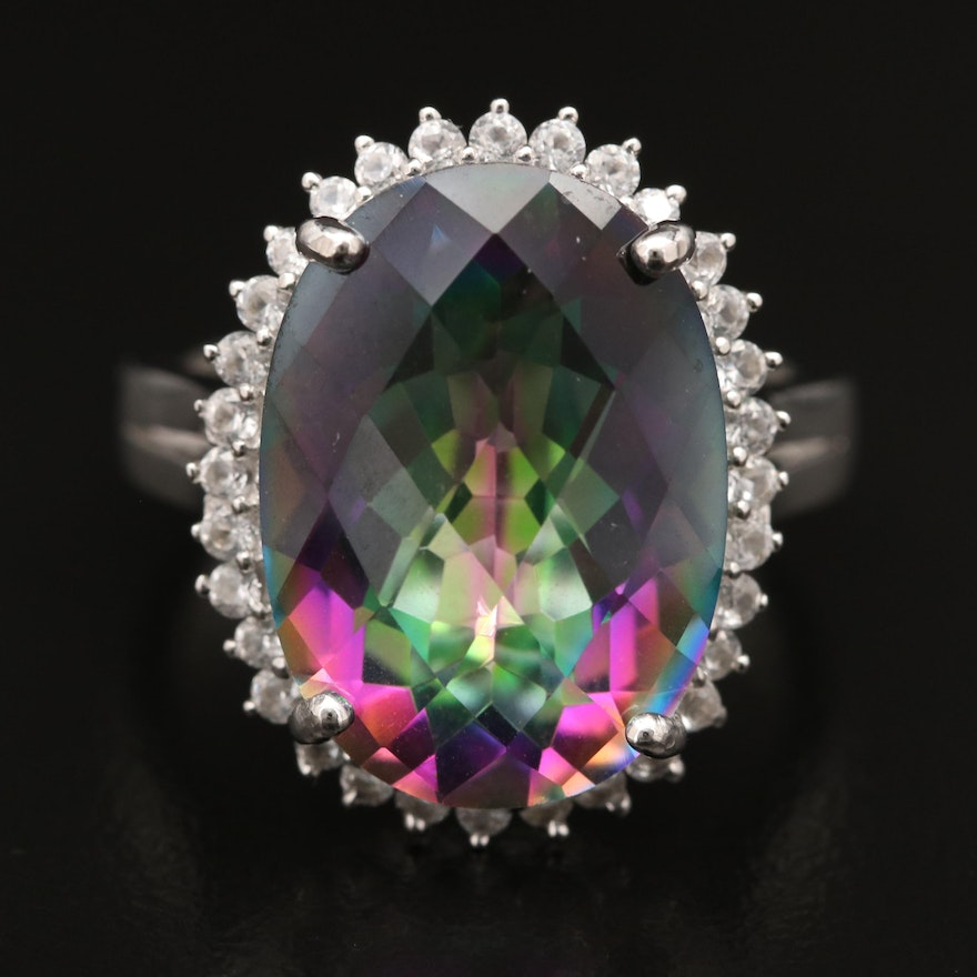 Sterling Mystic Topaz Ring with White Topaz Halo