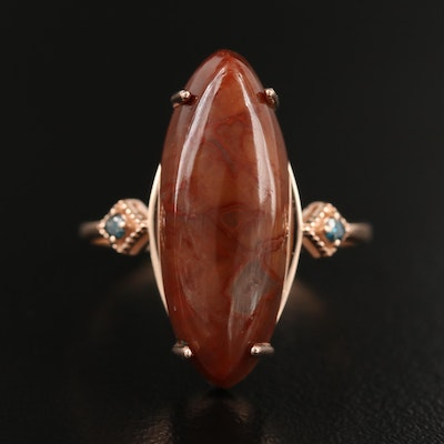 14K Rose Gold Agate and Diamond Ring