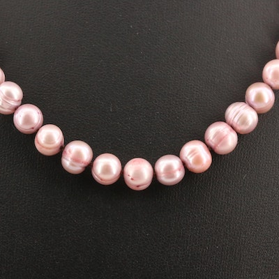 Knotted Cultured Pearl Necklace with 14K Clasp