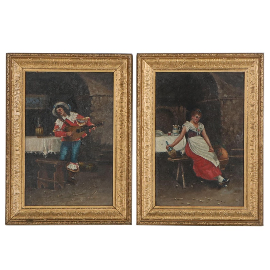 Italian School Oil Genre Paintings of Lute Player and Bar Maid, 20th Century