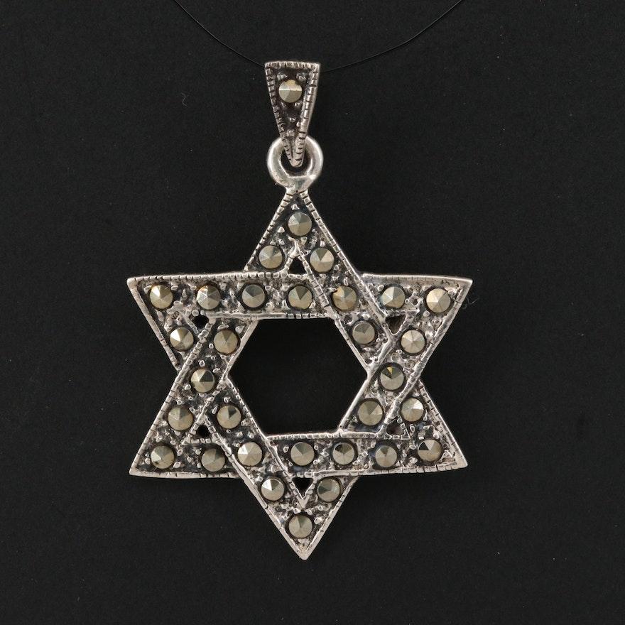 Sterling Silver Marcasite Star of David Pendant