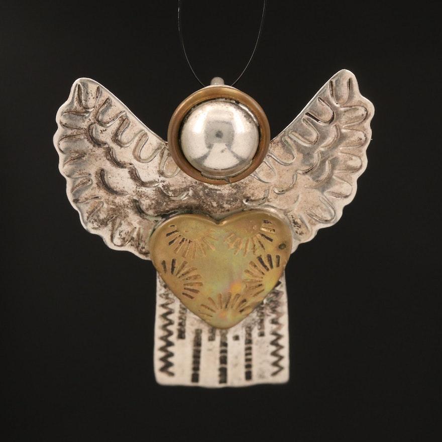 Sterling Stampwork Angel Converter Brooch