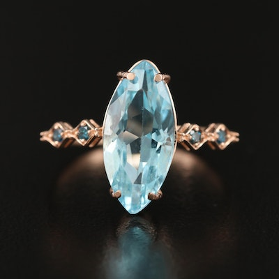 14K Rose Gold Topaz and Diamond Ring