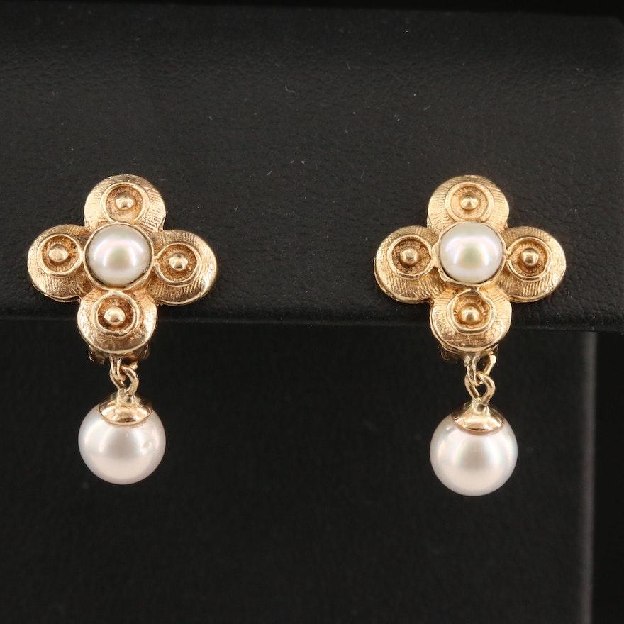 14K Pearl Quatrefoil Drop Earrings