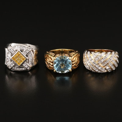 Topaz, Rhinestone and Cubic Zirconia Rings Including Sterling