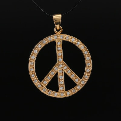 Sterling Silver Cubic Zirconia Peace Symbol Pendant