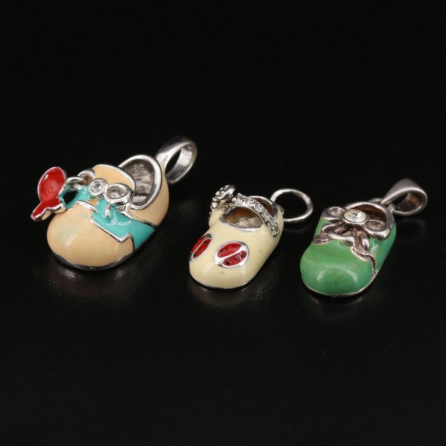 Sterling Silver Enamel and Cubic Zirconia Baby Shoe Pendants