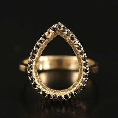 14K Diamond Halo Teardrop Semi-Mount Ring
