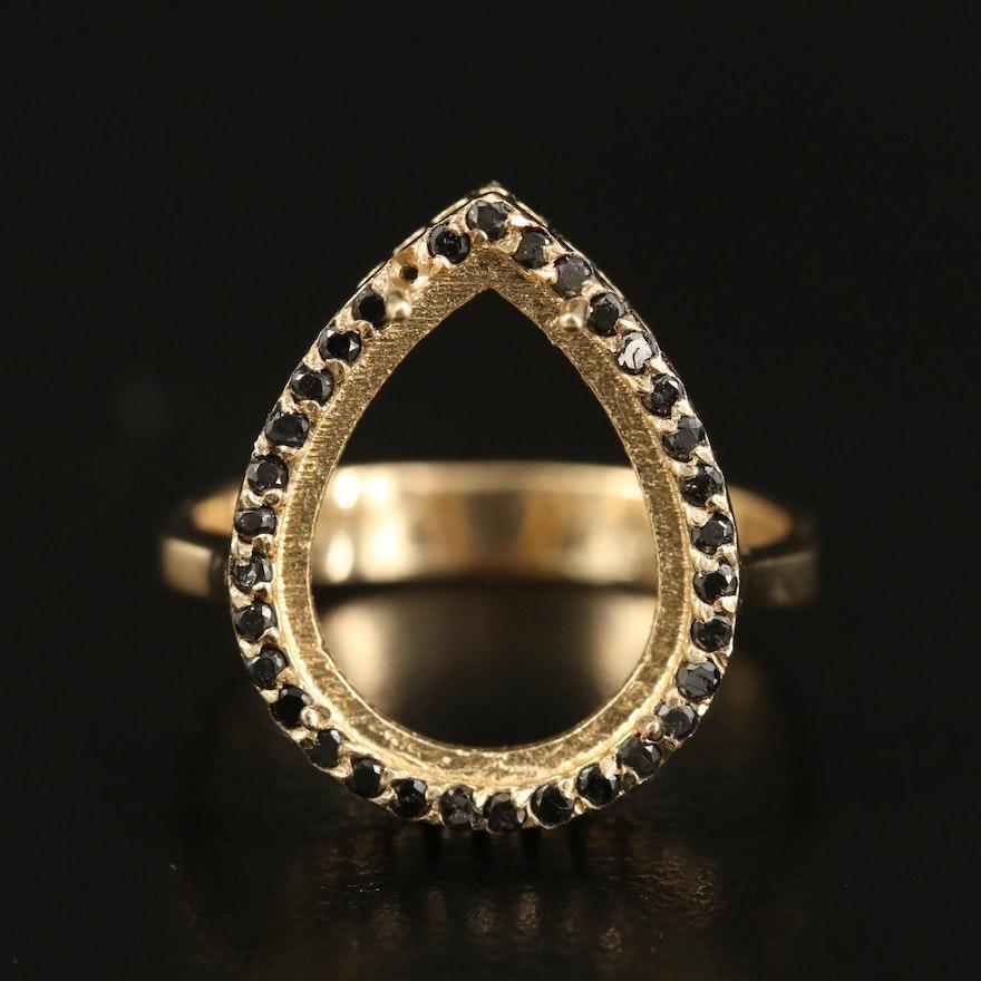 14K Diamond Halo Teardrop Semi-Mount Ring