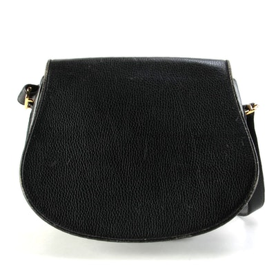 Cartier Les Must de Cartier Flap Front Shoulder Bag in Black Grained Leather