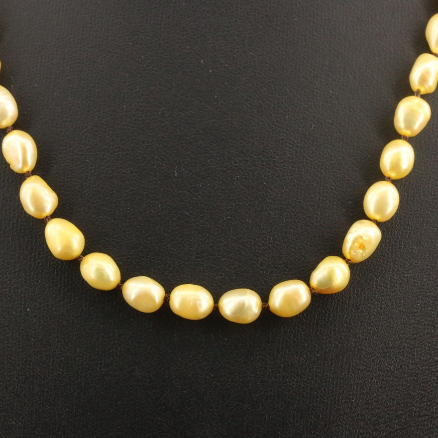 Semi-Baroque Pearl Necklace with 10K Clasp