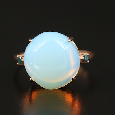 14K Opalescent Glass and Diamond Dome Ring
