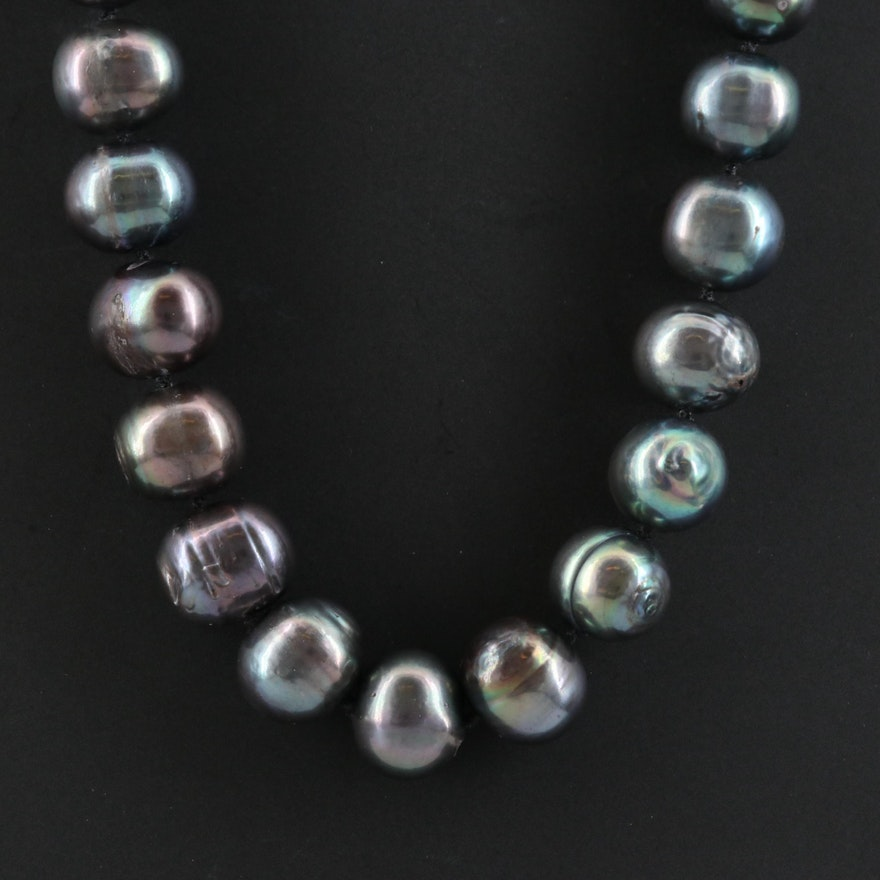 Semi-Baroque Pearl Necklace with 14K Clasp